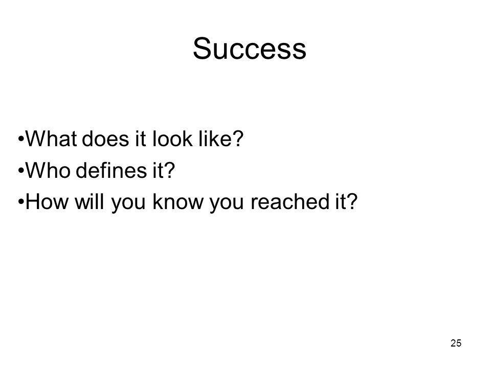 25 Success What does it look like? Who defines it? How will you know you reached it?