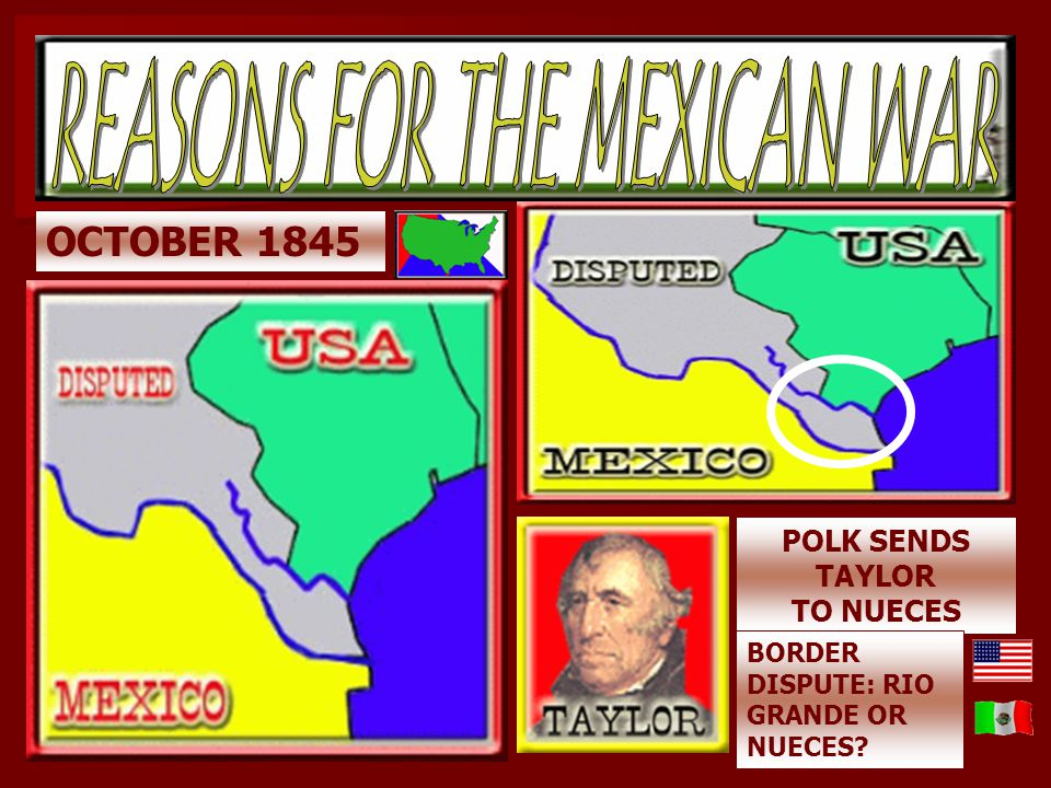 Causes of the War e. In December 1845, President Polk sent John Slidell to Mexico to negotiate the boundary dispute and offer to buy California. i. Th