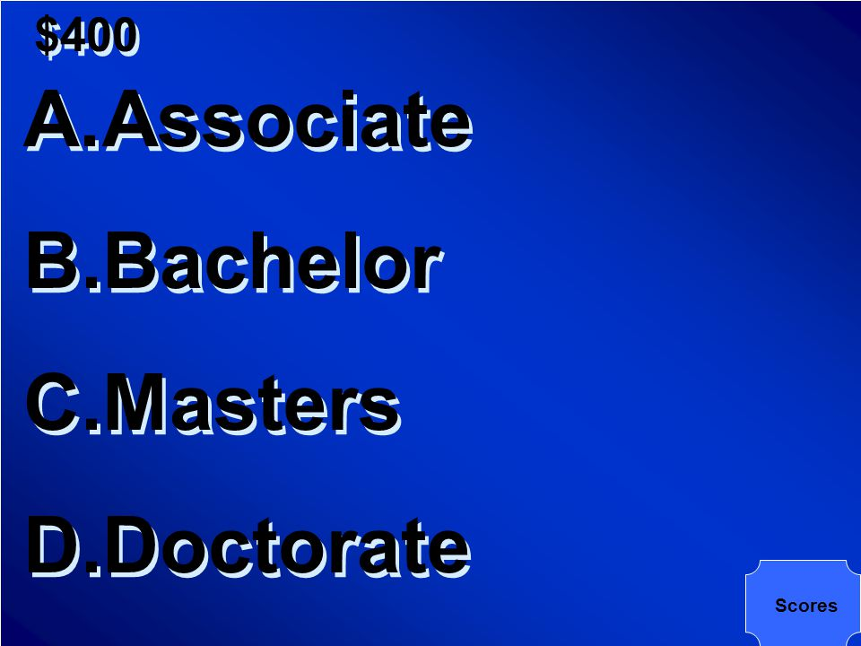$400 Which of the following degree takes an average of four years after high school to earn it?