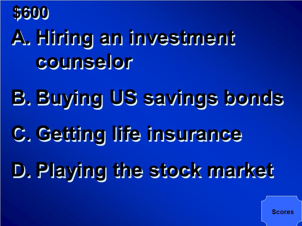 $600 Which of the following is the safest investment?