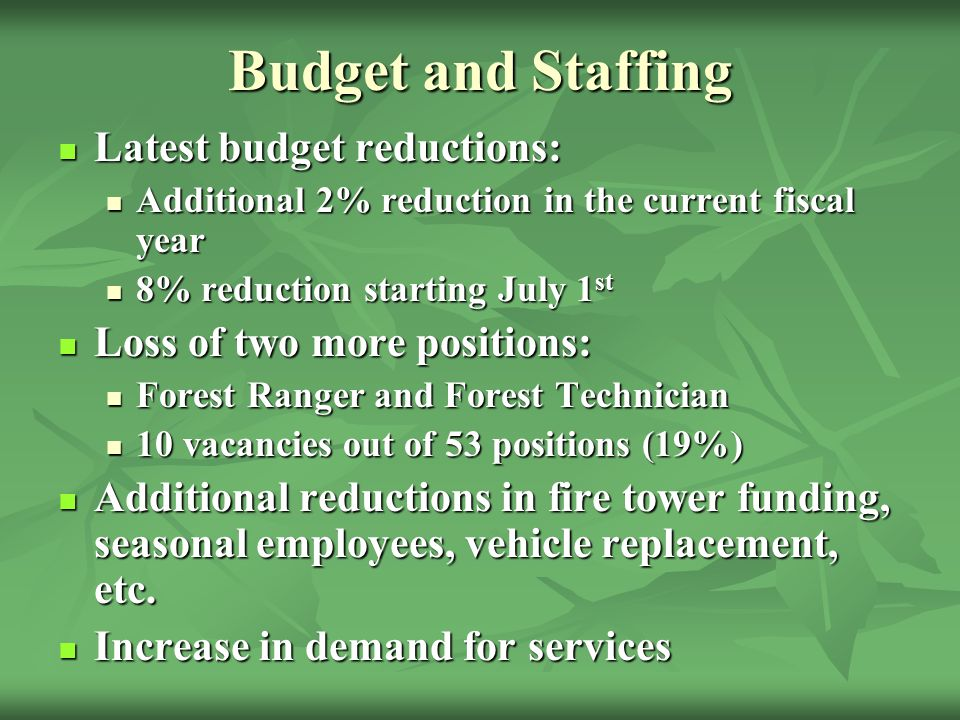 Budget and Staffing Latest budget reductions: Latest budget reductions: Additional 2% reduction in the current fiscal year Additional 2% reduction in the current fiscal year 8% reduction starting July 1 st 8% reduction starting July 1 st Loss of two more positions: Loss of two more positions: Forest Ranger and Forest Technician Forest Ranger and Forest Technician 10 vacancies out of 53 positions (19%) 10 vacancies out of 53 positions (19%) Additional reductions in fire tower funding, seasonal employees, vehicle replacement, etc.