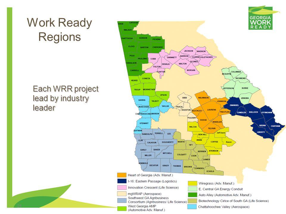 25 Work Ready Regions Each WRR project lead by industry leader