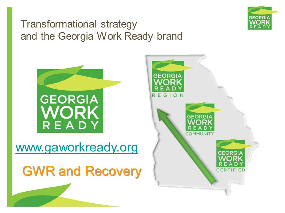 28 Transformational strategy and the Georgia Work Ready brand www.gaworkready.org GWR and Recovery