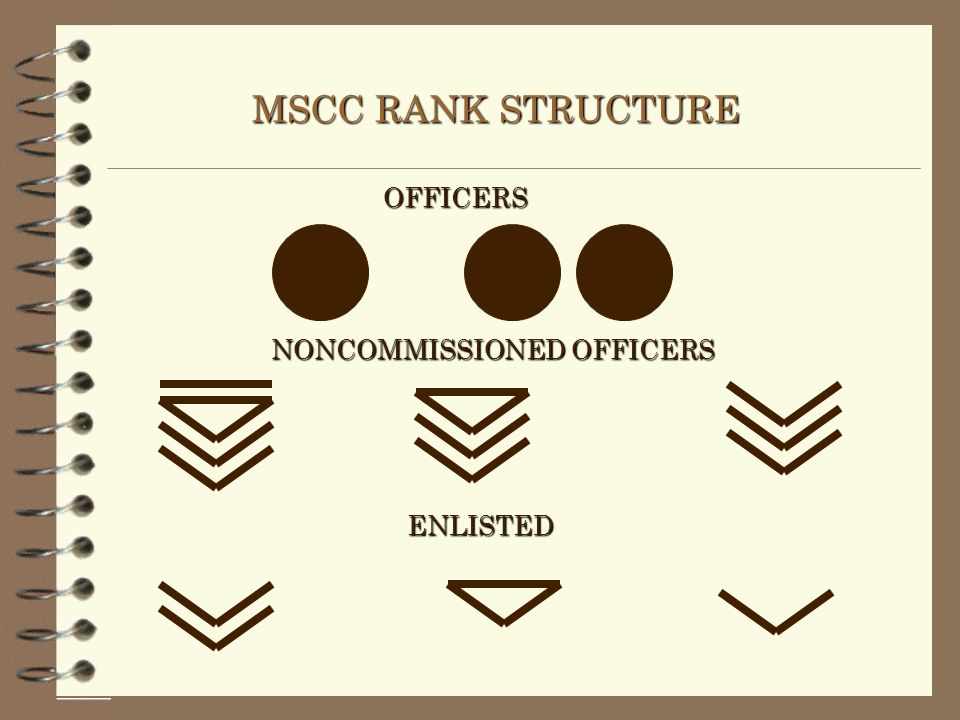 MSCC RANK STRUCTURE OFFICERS NONCOMMISSIONED OFFICERS ENLISTED