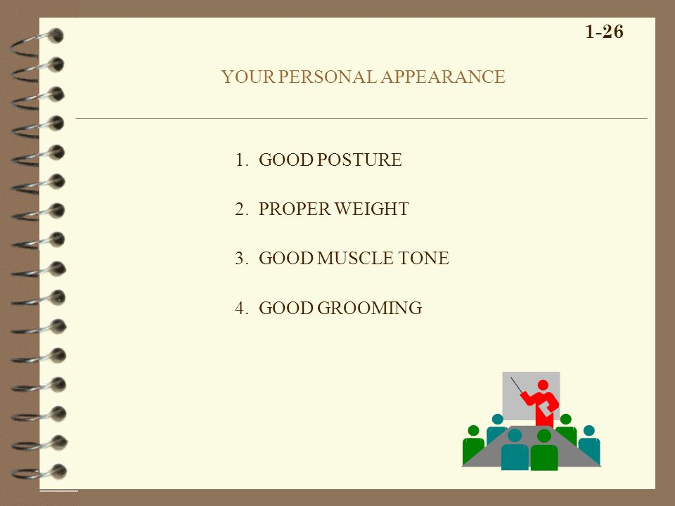 YOUR PERSONAL APPEARANCE 1. GOOD POSTURE 2. PROPER WEIGHT 3. GOOD MUSCLE TONE 4. GOOD GROOMING 1-26
