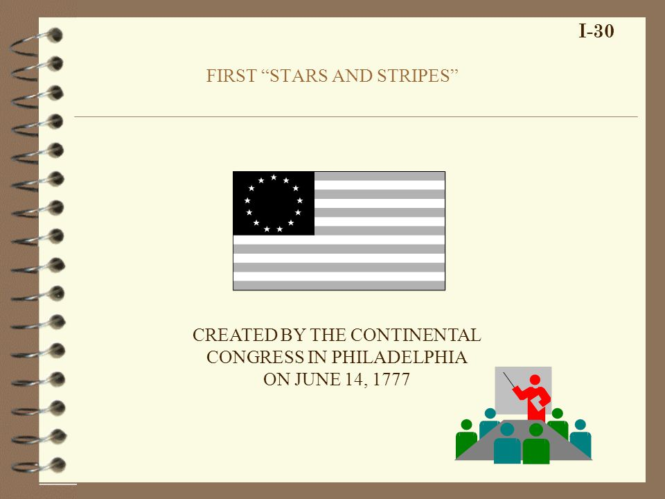 FIRST STARS AND STRIPES I-30 CREATED BY THE CONTINENTAL CONGRESS IN PHILADELPHIA ON JUNE 14, 1777