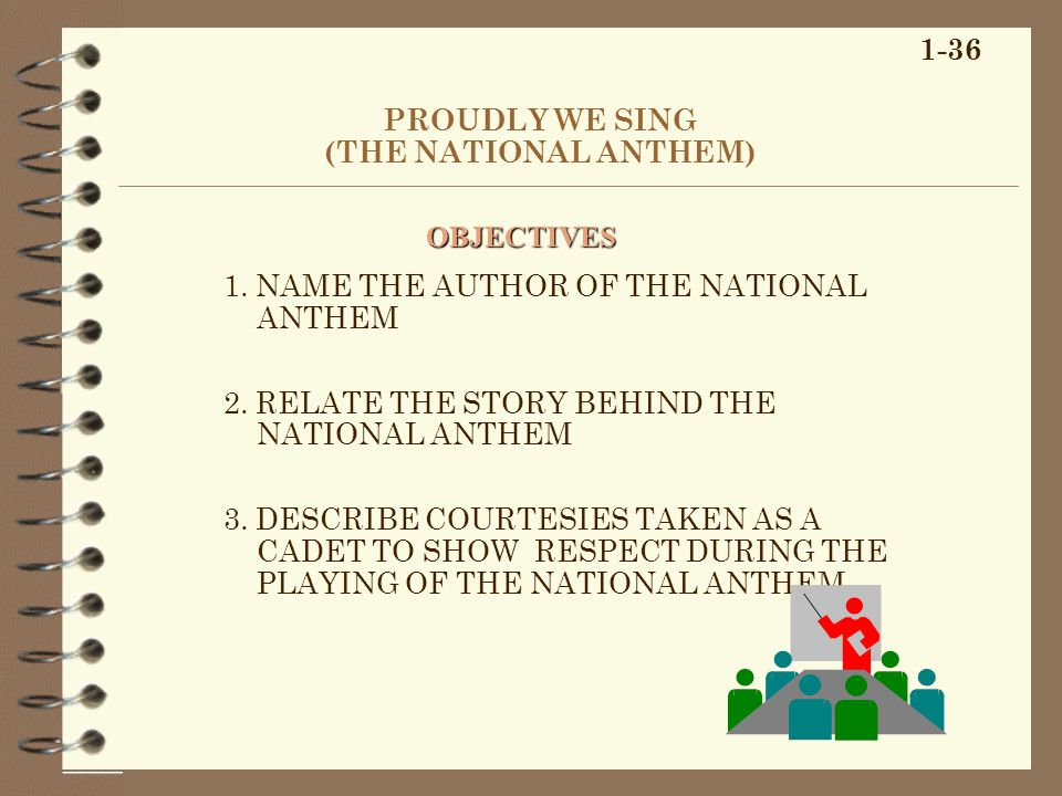 PROUDLY WE SING (THE NATIONAL ANTHEM) 1. NAME THE AUTHOR OF THE NATIONAL ANTHEM 2.