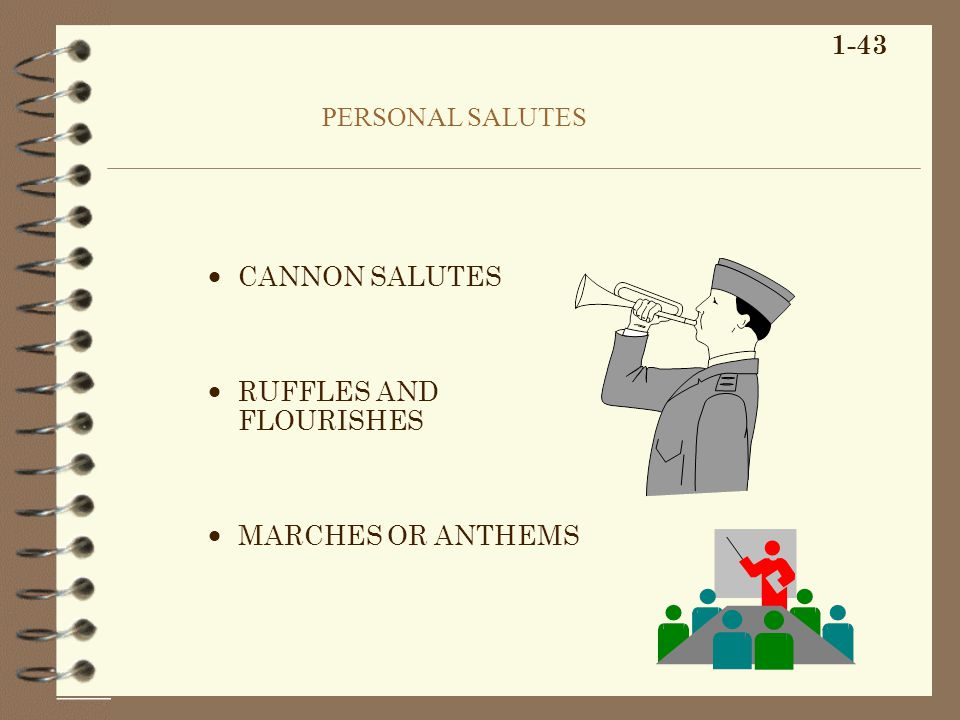 PERSONAL SALUTES CANNON SALUTES RUFFLES AND FLOURISHES MARCHES OR ANTHEMS 1-43