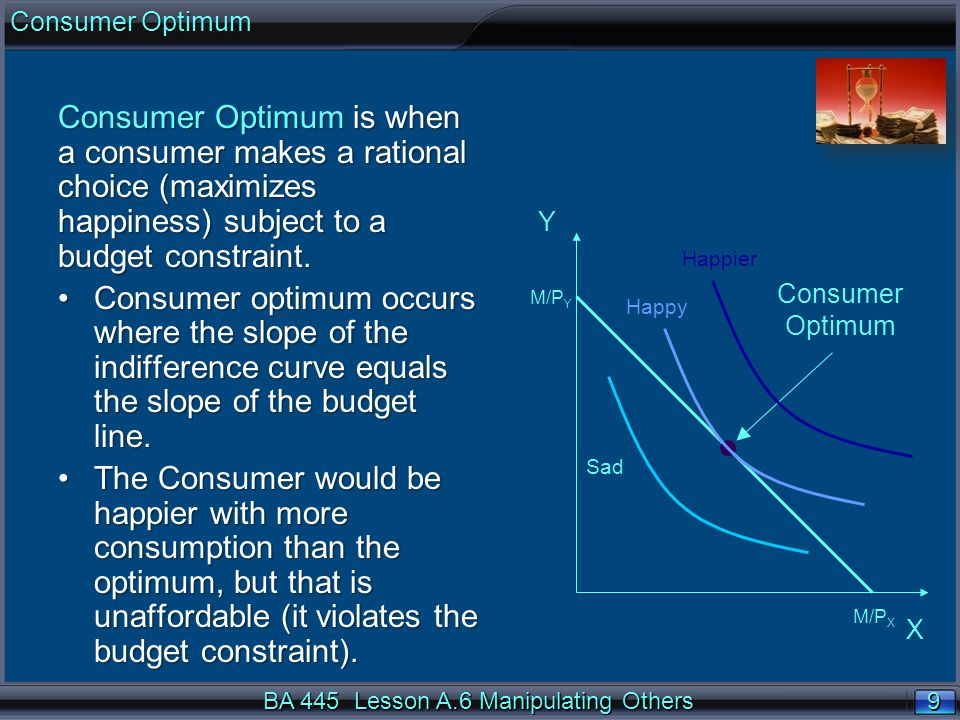 9 9 Consumer Optimum is when a consumer makes a rational choice (maximizes happiness) subject to a budget constraint. Consumer optimum occurs where th