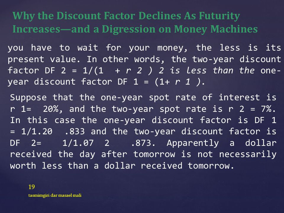 19 tasmimgiri dar masael mali Why the Discount Factor Declines As Futurity Increasesand a Digression on Money Machines you have to wait for your money