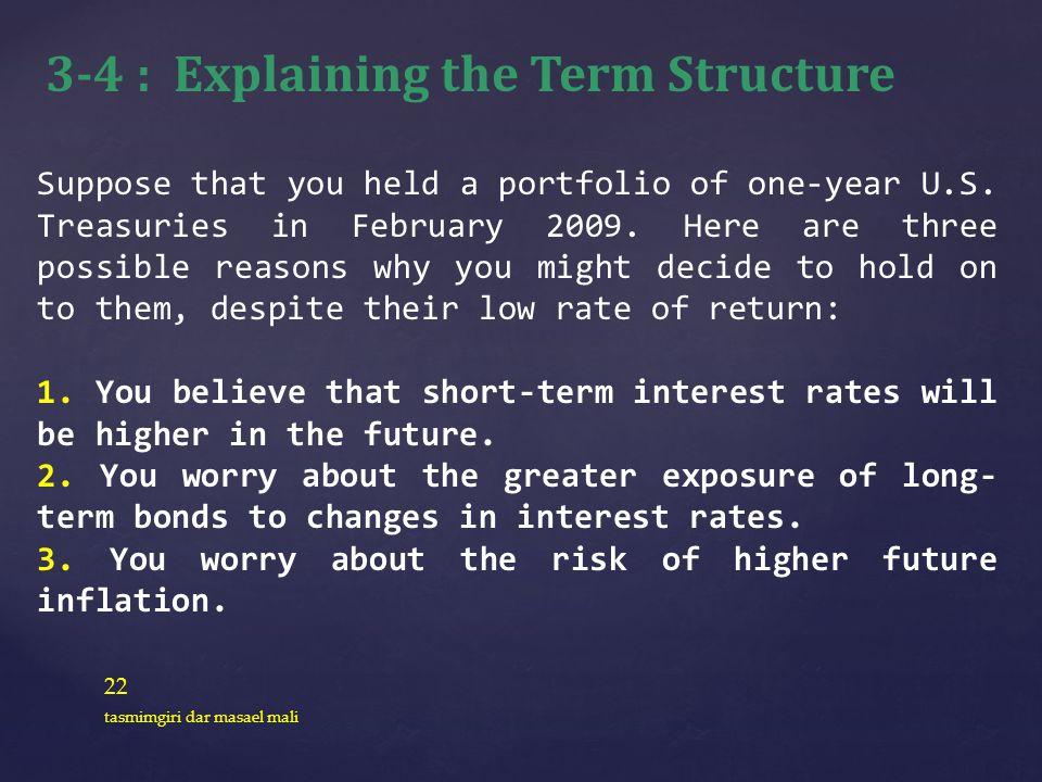 22 tasmimgiri dar masael mali Suppose that you held a portfolio of one-year U.S. Treasuries in February 2009. Here are three possible reasons why you