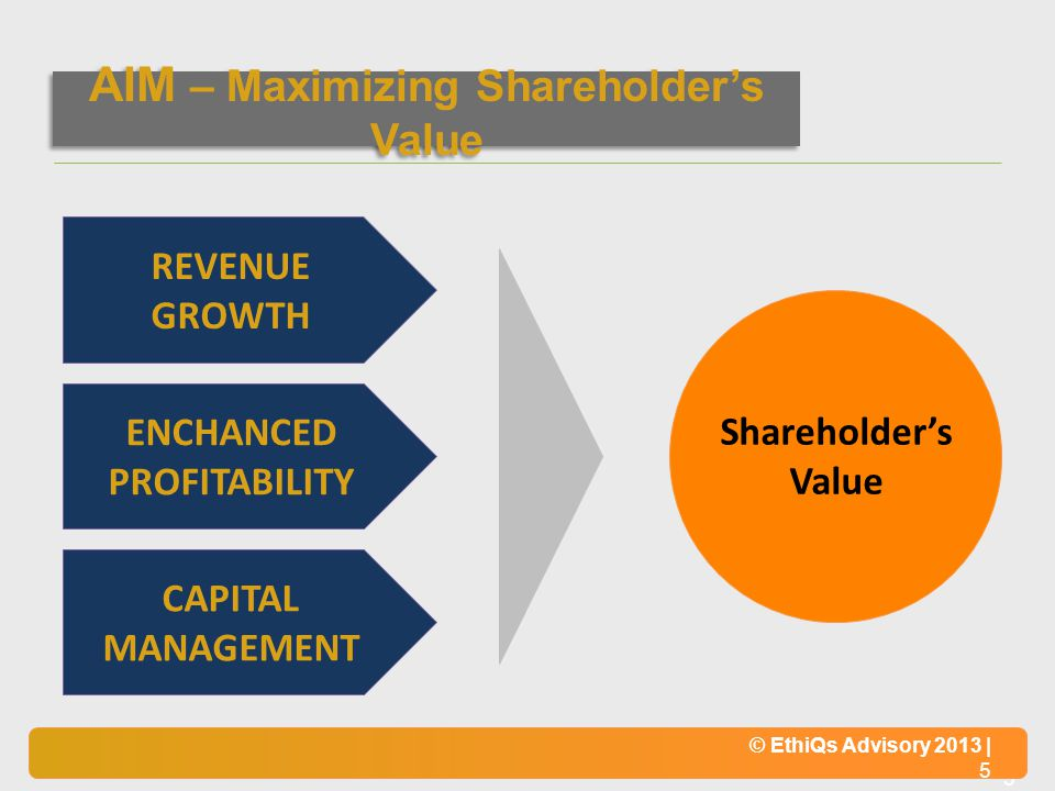 © EthiQs Advisory 2013 | 5 REVENUE GROWTH ENCHANCED PROFITABILITY CAPITAL MANAGEMENT Shareholders Value AIM – Maximizing Shareholders Value