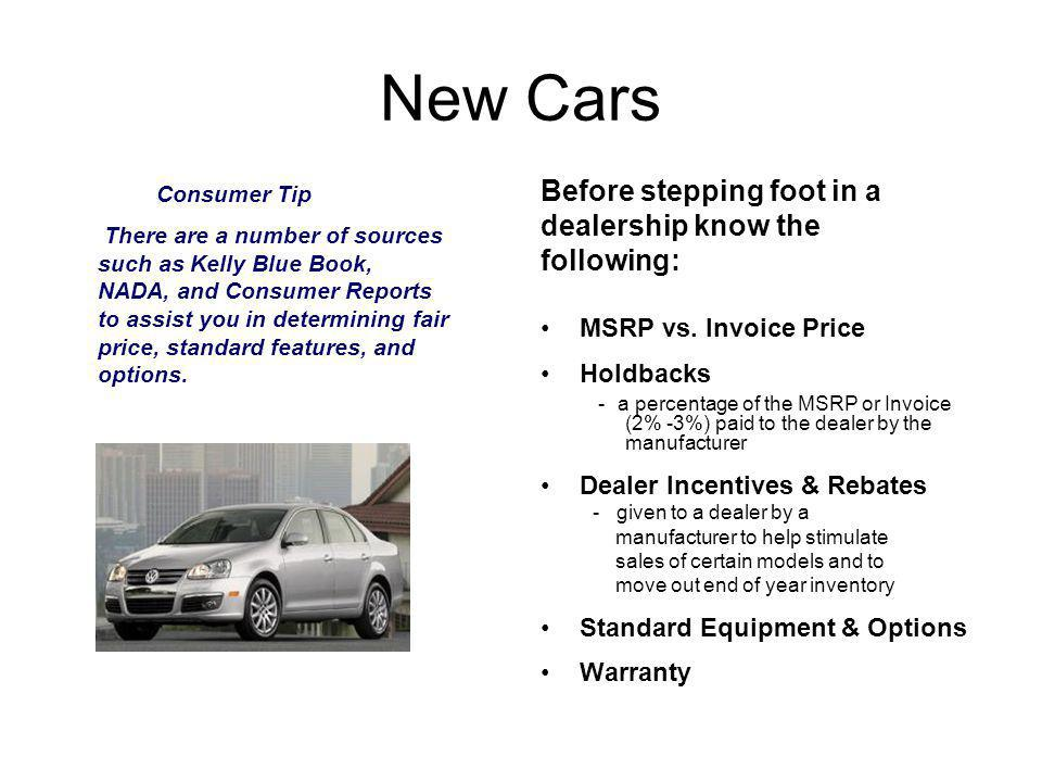 New Car Terminology Dealer Terms Invoice Price: Manufacturers initial charge to the dealer.
