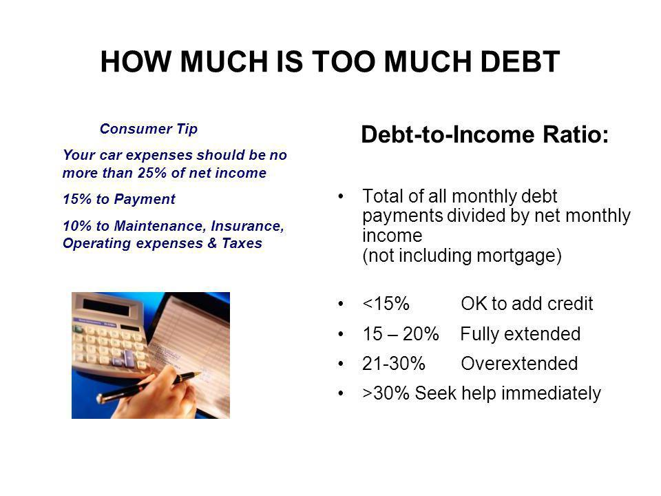 Debt-to-Income Ratio: Total of all monthly debt payments divided by net monthly income (not including mortgage) <15% OK to add credit 15 – 20% Fully extended 21-30% Overextended >30% Seek help immediately Consumer Tip Your car expenses should be no more than 25% of net income 15% to Payment 10% to Maintenance, Insurance, Operating expenses & Taxes HOW MUCH IS TOO MUCH DEBT