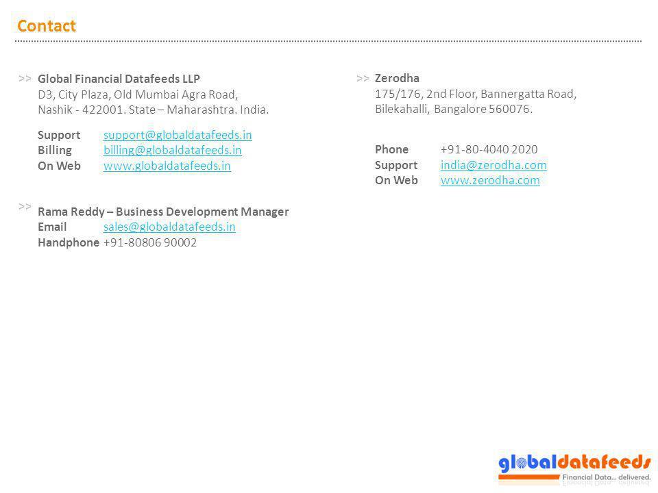 Contact Global Financial Datafeeds LLP D3, City Plaza, Old Mumbai Agra Road, Nashik - 422001. State – Maharashtra. India. Support support@globaldatafe