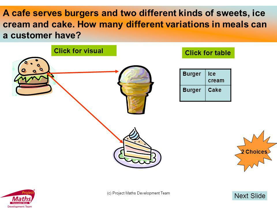 (c) Project Maths Development Team A cafe serves 2 main courses, burger and steak and two sweets, ice cream and cake.