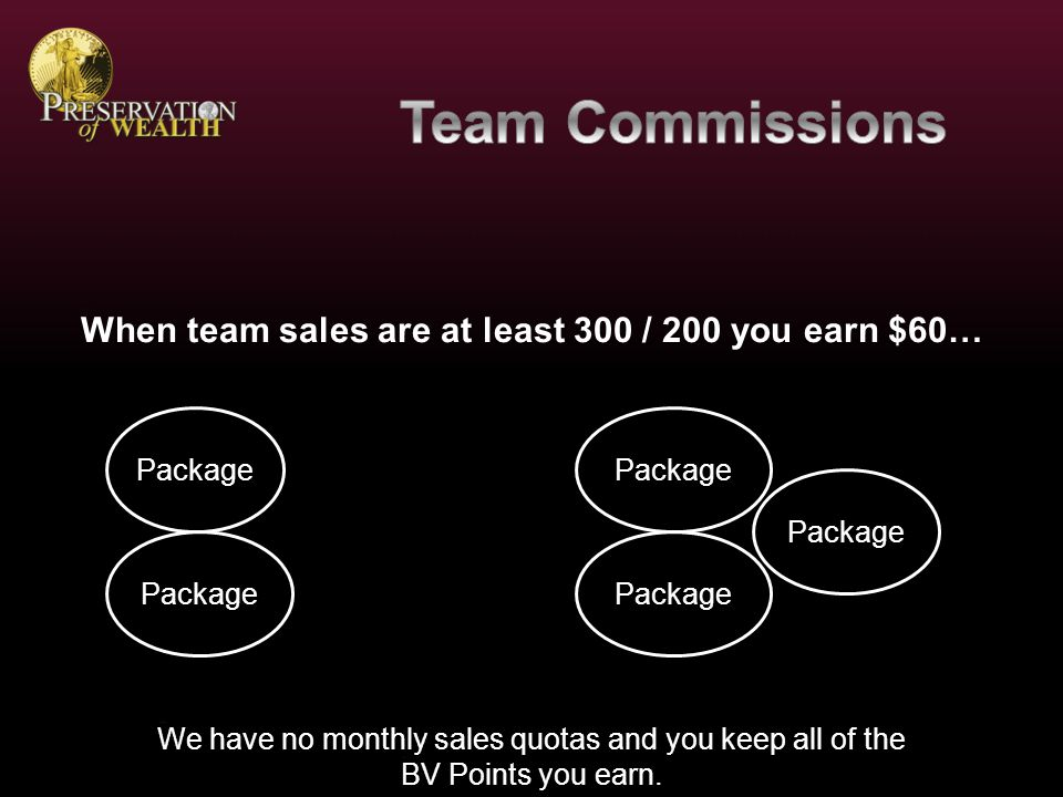 Starter Package $100 for Personal Referrals $10 for 2 nd and 3 rd Generation Referrals