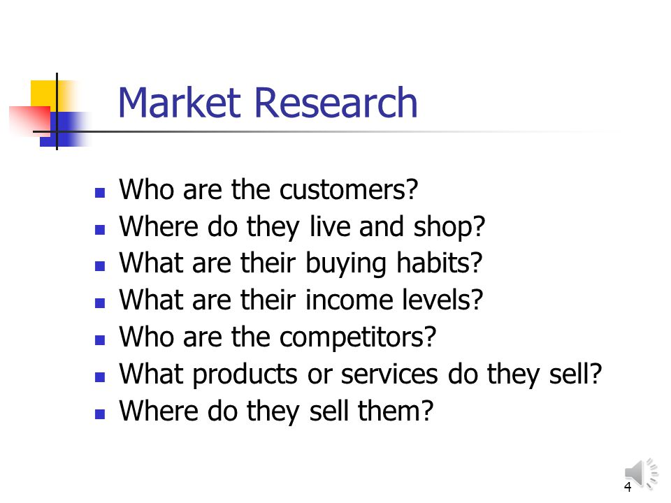 4 Market Research Who are the customers.Where do they live and shop.