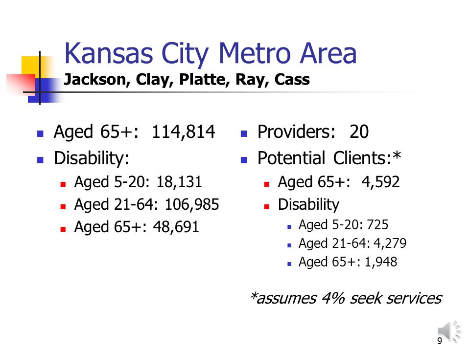 8 St. Louis City/County Aged 65+: 181,123 Disability Aged 5-20: 26,412 Aged 21-64: 128,000 Aged 65+: 71,428 Providers: 200 +/- Potential Clients:* Age
