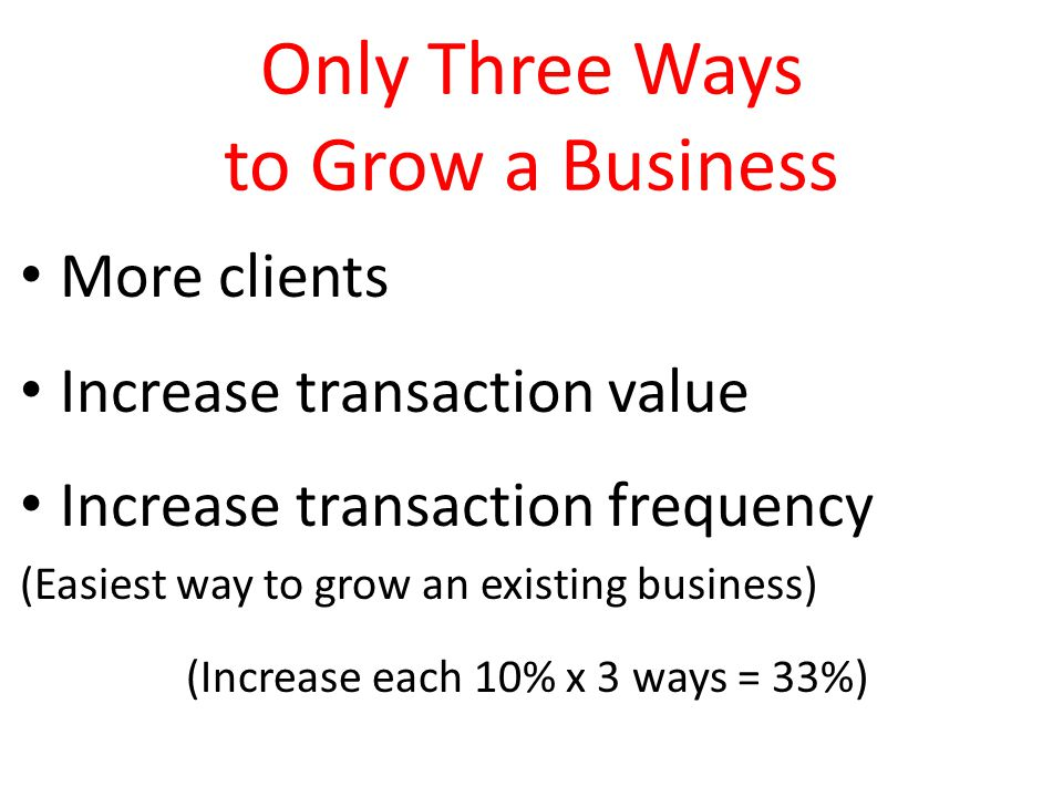 Only Three Ways to Grow a Business More clients Increase transaction value Increase transaction frequency (Easiest way to grow an existing business) (Increase each 10% x 3 ways = 33%)