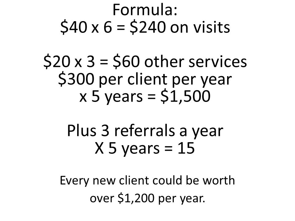 Formula: $40 x 6 = $240 on visits $20 x 3 = $60 other services $300 per client per year x 5 years = $1,500 Plus 3 referrals a year X 5 years = 15 Every new client could be worth over $1,200 per year.