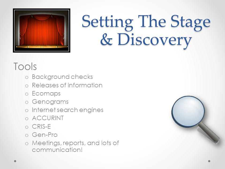 Setting The Stage & Discovery Tools o Background checks o Releases of information o Ecomaps o Genograms o Internet search engines o ACCURINT o CRIS-E