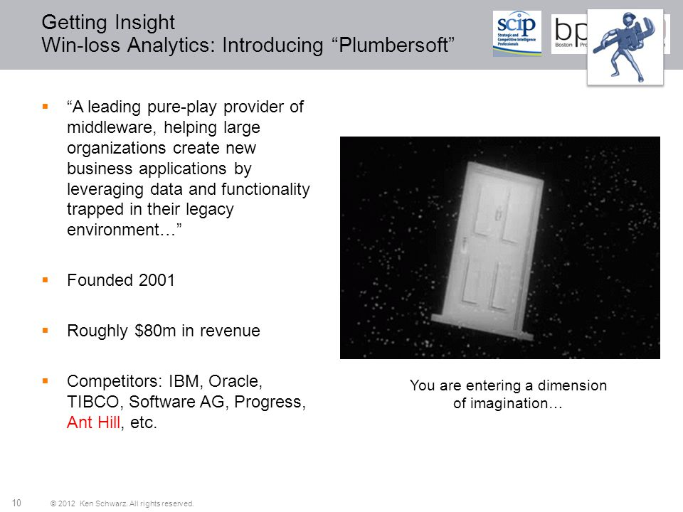 © 2012 Ken Schwarz. All rights reserved. 10 Getting Insight Win-loss Analytics: Introducing Plumbersoft A leading pure-play provider of middleware, he