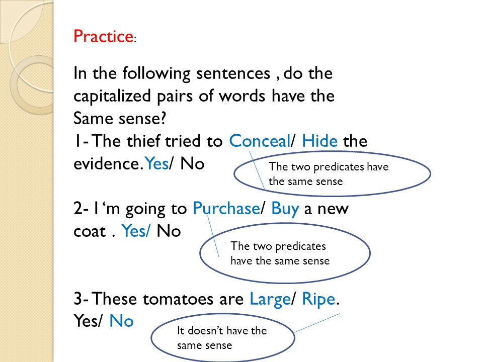 Practice : In the following sentences, do the capitalized pairs of words have the Same sense.