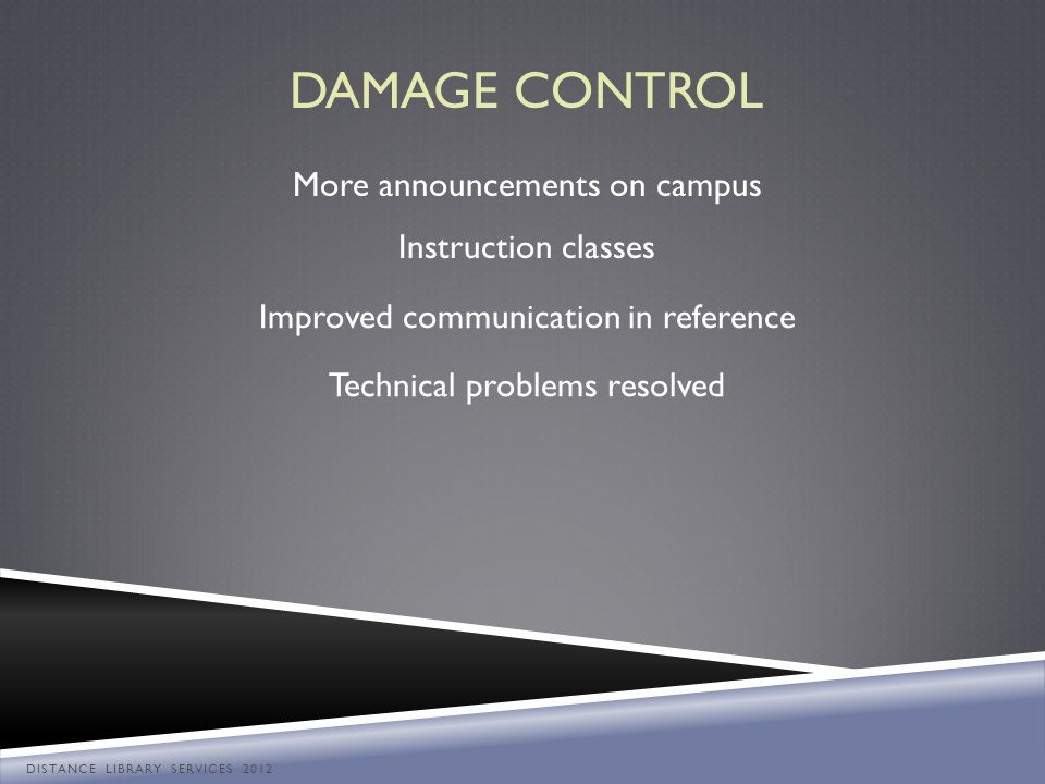 DAMAGE CONTROL More announcements on campus Instruction classes Improved communication in reference Technical problems resolved DISTANCE LIBRARY SERVI