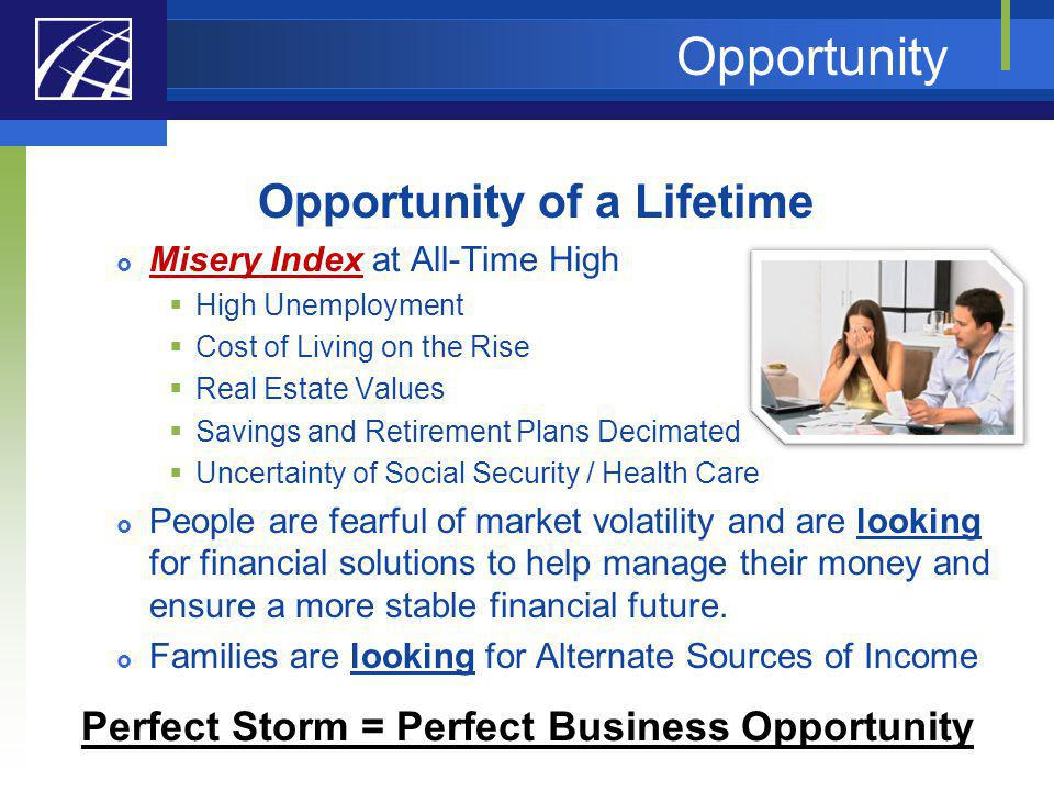 Opportunity Opportunity of a Lifetime Misery Index at All-Time High High Unemployment Cost of Living on the Rise Real Estate Values Savings and Retire