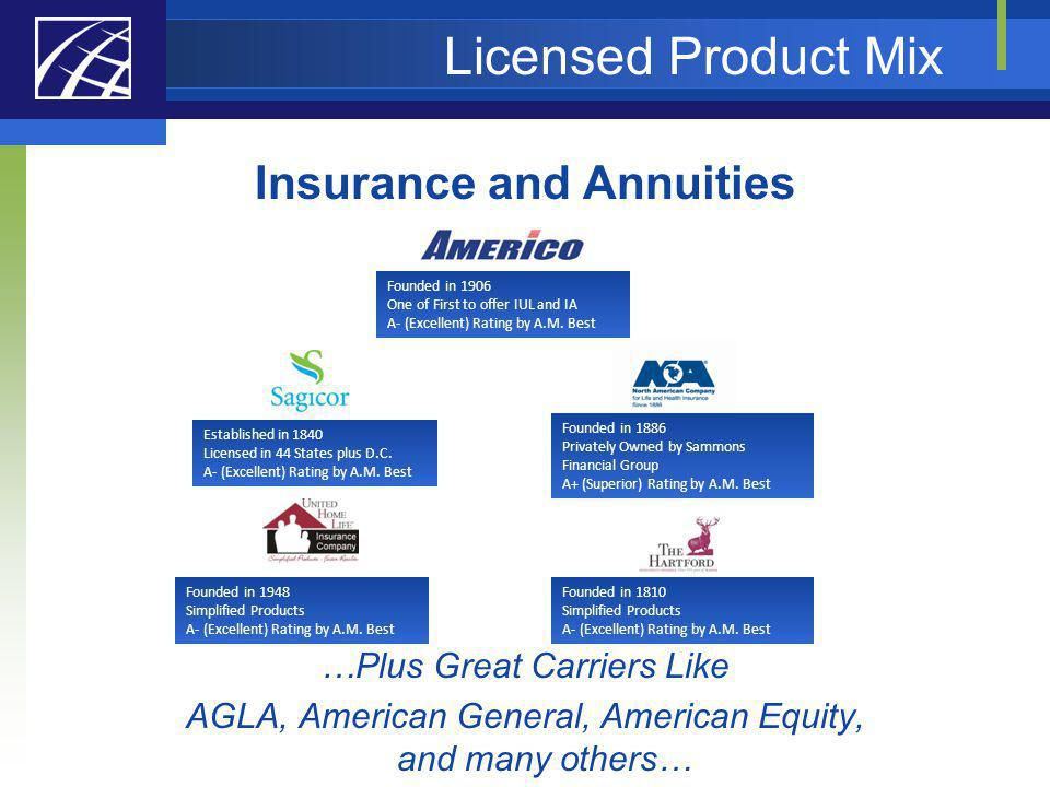 Licensed Product Mix Insurance and Annuities …Plus Great Carriers Like AGLA, American General, American Equity, and many others… Established in 1840 L