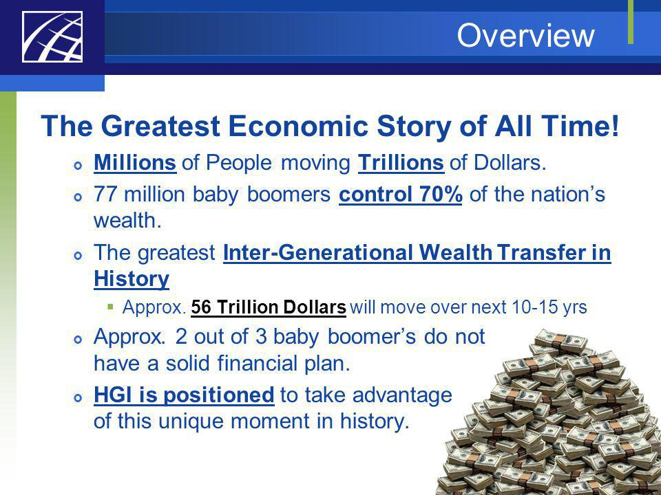 Overview The Greatest Economic Story of All Time! Millions of People moving Trillions of Dollars. 77 million baby boomers control 70% of the nations w