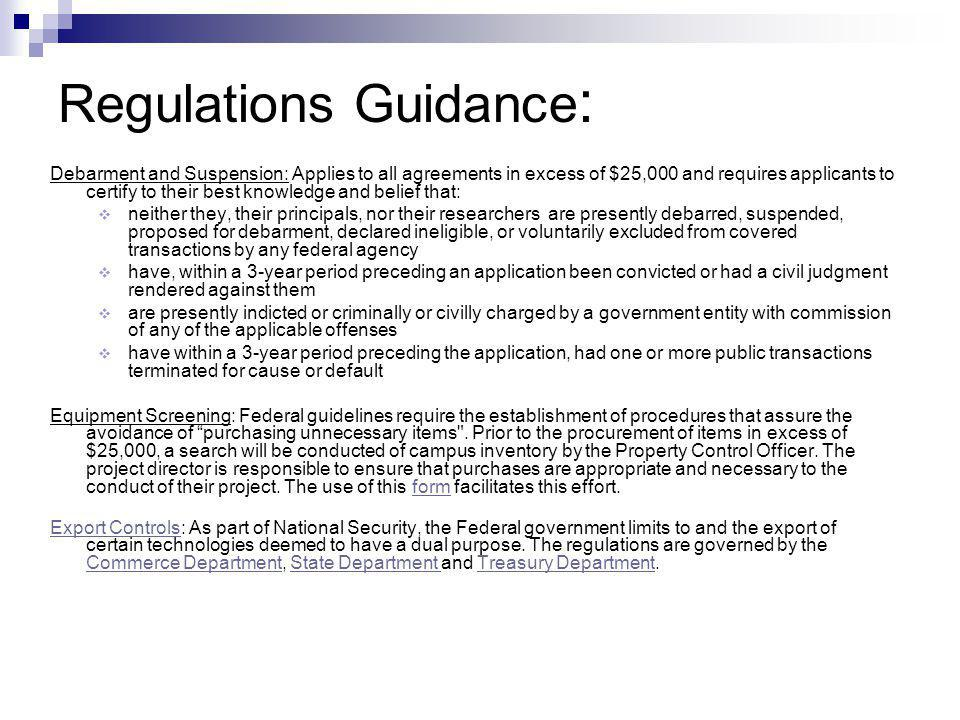 Research Foundation Regulations Thresholds X indicates that the regulation is required. The Purchasing Office reserves the right to require reasonable