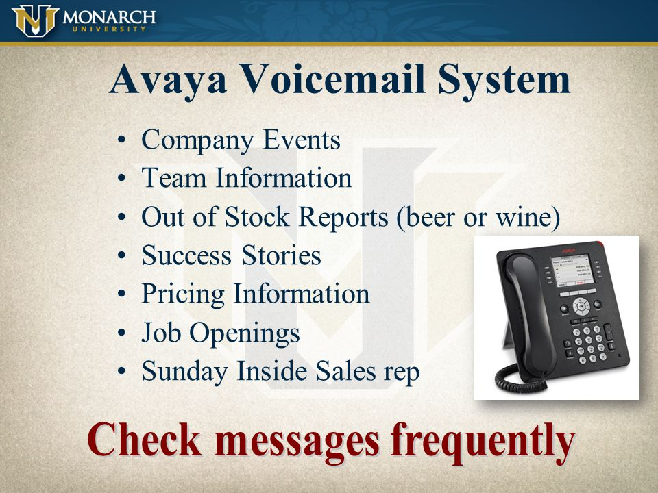 Communication Methods Avaya Voicemail System Cell Phones Email Fax Machines Palms / Inside Sales