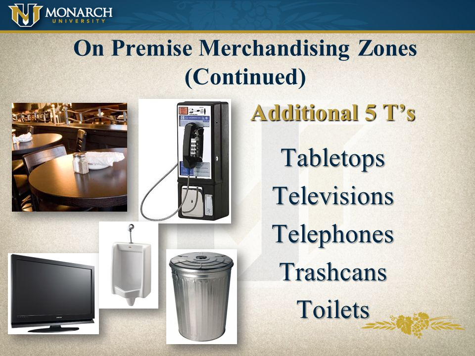 On Premise Merchandising Zones Exterior: What customers see from the outside of the account Entryway: P.O.S. found entering an account 1st Impact: Wha