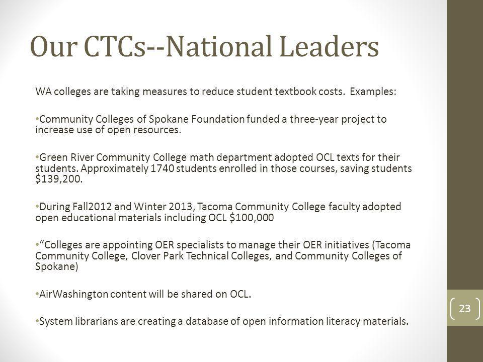 Our CTCs--National Leaders WA colleges are taking measures to reduce student textbook costs.