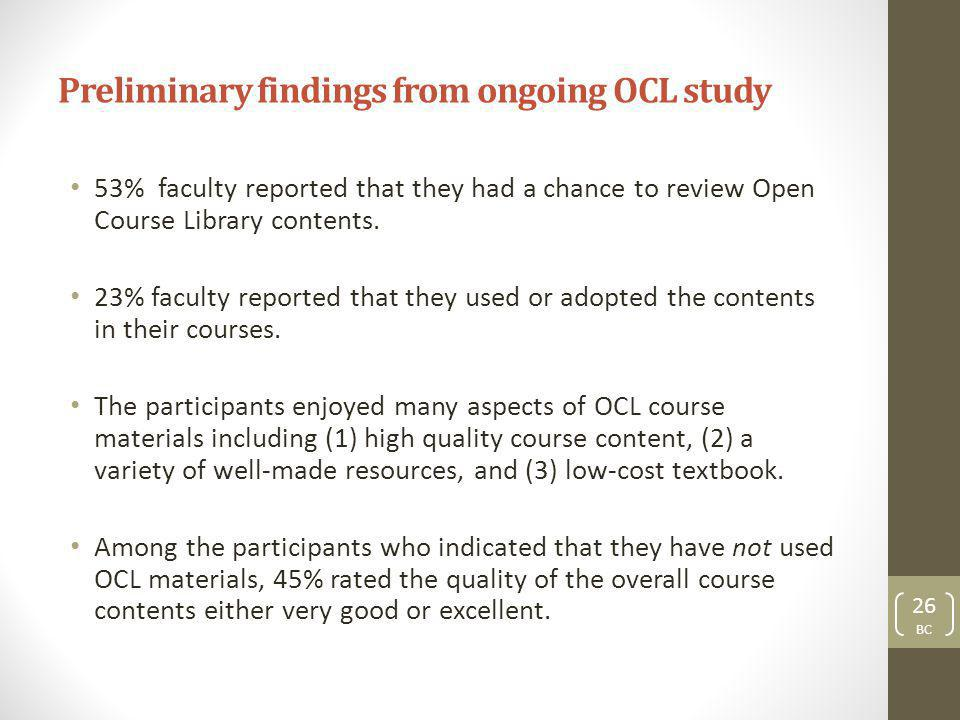 Preliminary findings from ongoing OCL study 53% faculty reported that they had a chance to review Open Course Library contents.