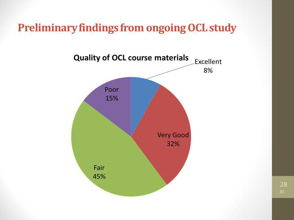 28 BC Preliminary findings from ongoing OCL study