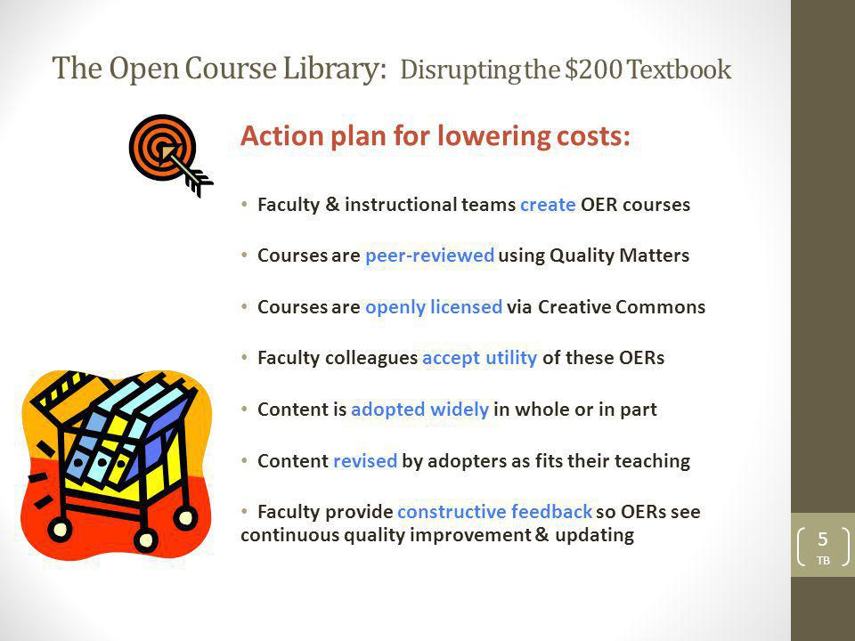 The Open Course Library: Disrupting the $200 Textbook Action plan for lowering costs: Faculty & instructional teams create OER courses Courses are peer-reviewed using Quality Matters Courses are openly licensed via Creative Commons Faculty colleagues accept utility of these OERs Content is adopted widely in whole or in part Content revised by adopters as fits their teaching Faculty provide constructive feedback so OERs see continuous quality improvement & updating 5 TB