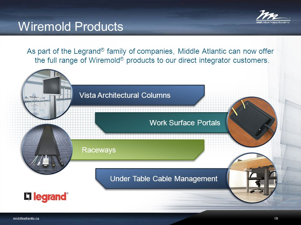 Wiremold Products As part of the Legrand ® family of companies, Middle Atlantic can now offer the full range of Wiremold ® products to our direct integrator customers.