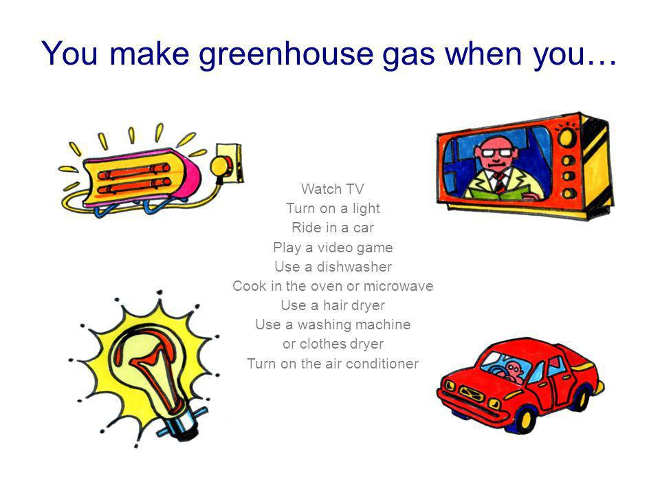 You make greenhouse gas when you… Watch TV Turn on a light Ride in a car Play a video game Use a dishwasher Cook in the oven or microwave Use a hair d