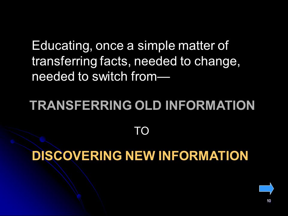 10 Educating, once a simple matter of transferring facts, needed to change, needed to switch from TRANSFERRING OLD INFORMATION TO DISCOVERING NEW INFORMATION