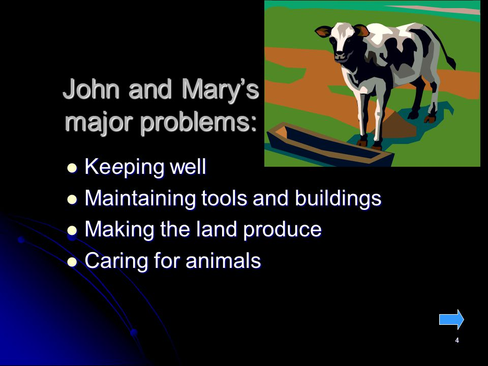 4 John and Marys major problems: Keeping well Keeping well Maintaining tools and buildings Maintaining tools and buildings Making the land produce Making the land produce Caring for animals Caring for animals