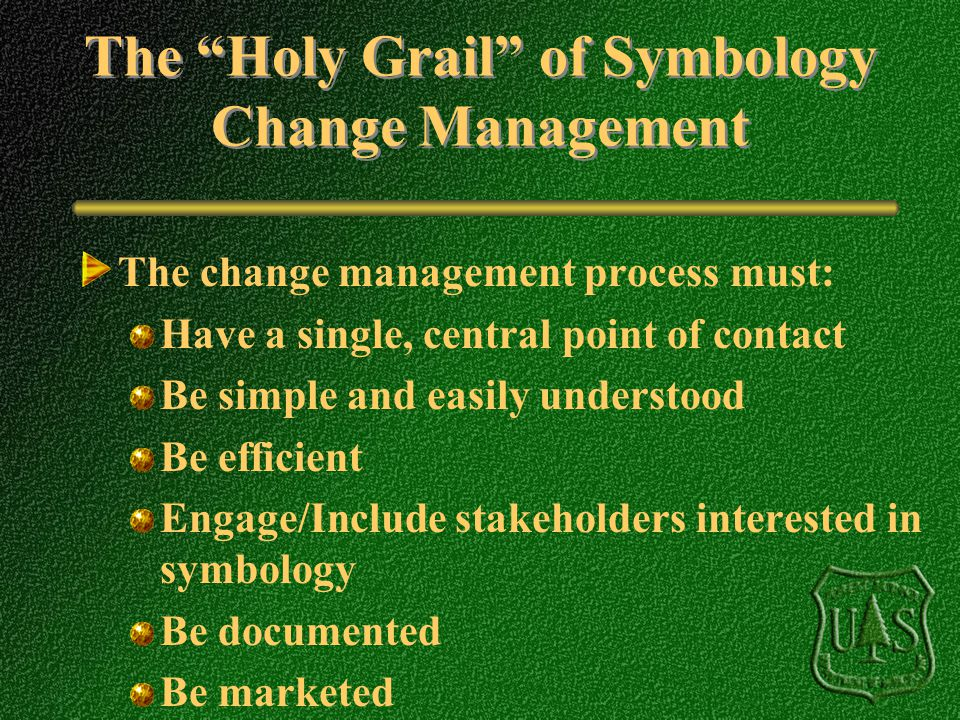 The Holy Grail of Symbology Change Management The change management process must: Have a single, central point of contact Be simple and easily underst