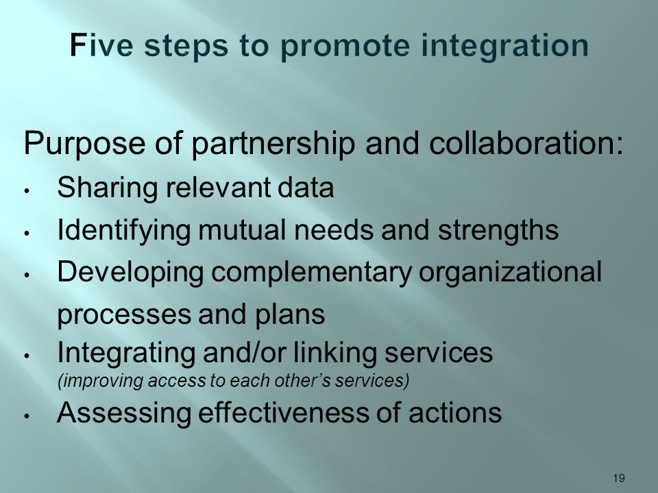 Purpose of partnership and collaboration: Sharing relevant data Identifying mutual needs and strengths Developing complementary organizational process