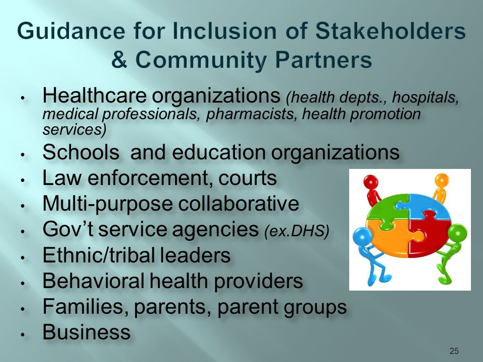 Healthcare organizations (health depts., hospitals, medical professionals, pharmacists, health promotion services) Schools and education organizations Law enforcement, courts Multi-purpose collaborative Govt service agencies (ex.DHS) Ethnic/tribal leaders Behavioral health providers Families, parents, parent groups Business Healthcare organizations (health depts., hospitals, medical professionals, pharmacists, health promotion services) Schools and education organizations Law enforcement, courts Multi-purpose collaborative Govt service agencies (ex.DHS) Ethnic/tribal leaders Behavioral health providers Families, parents, parent groups Business 25