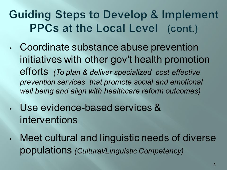 Coordinate substance abuse prevention initiatives with other gov t health promotion efforts (To plan & deliver specialized cost effective prevention services that promote social and emotional well being and align with healthcare reform outcomes) Use evidence-based services & interventions Meet cultural and linguistic needs of diverse populations (Cultural/Linguistic Competency) 8