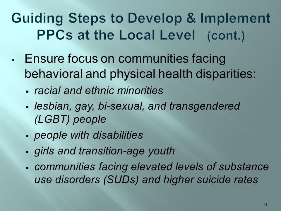 Ensure focus on communities facing behavioral and physical health disparities: racial and ethnic minorities lesbian, gay, bi-sexual, and transgendered