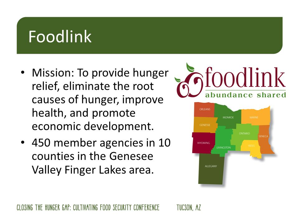 Mission: To provide hunger relief, eliminate the root causes of hunger, improve health, and promote economic development.