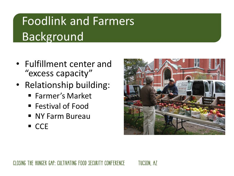 Fulfillment center and excess capacity Relationship building: Farmers Market Festival of Food NY Farm Bureau CCE Foodlink and Farmers Background